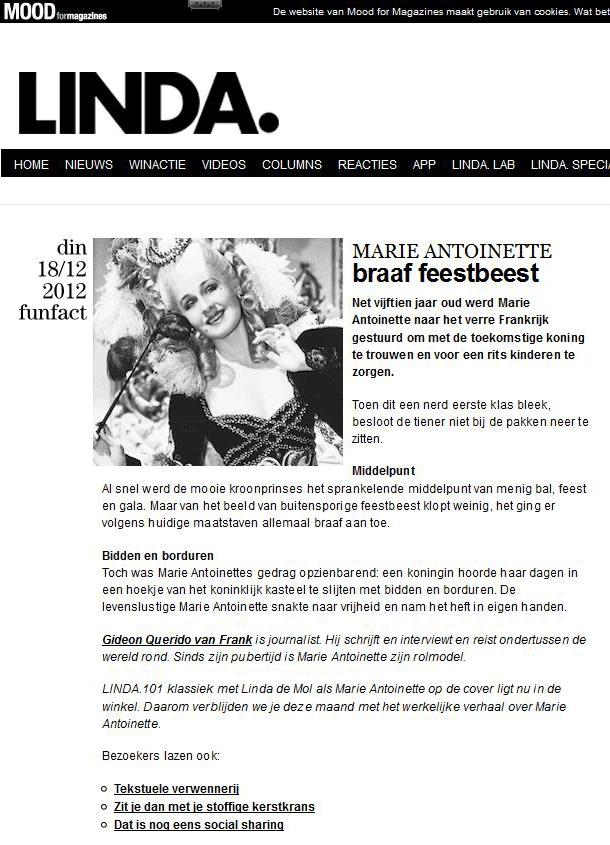 LINDA magazine 2012-12-18, artikel; Marie Antoinette braaf beest